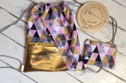 worko/plecak ELEGANCE różowe trójkąty ze złot