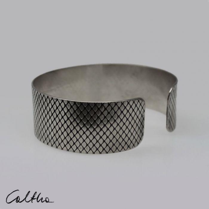 Metalowa bransoleta - rybia łuska 190814-03 - Regulowana bransoletka