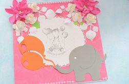Kartka roczek słonik różowa