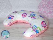 ROGAL do karmienia poduszka fasolka zagłówek - bawełna i Minky - różowy sowy