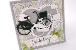 Rowery w szarości- kartka ślubna