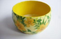 Bransoletka w  żółte kwiatuszki decoupage