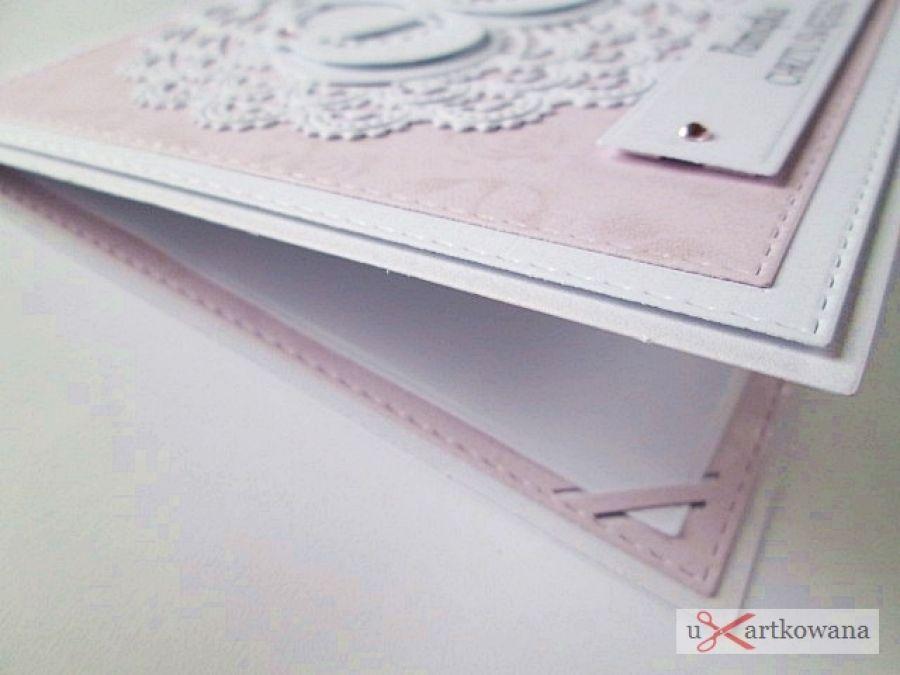 Kartka PAMIĄTKA CHRZTU biało-różowa #1 /Z
