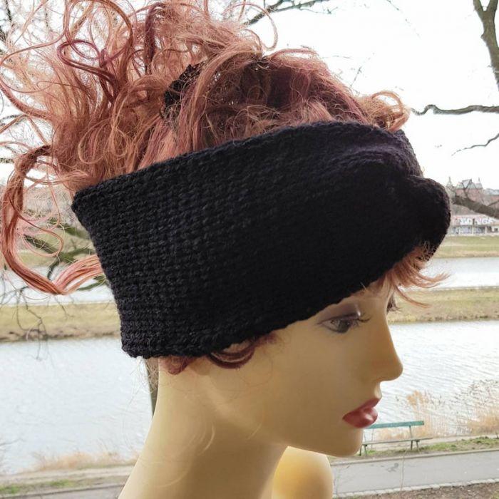 Czarna opaska turban -