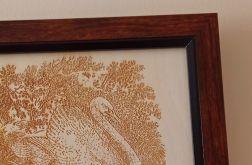 10A. Obraz Drzeworyt Łabędź (258x197)mm