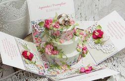Pastelowe pudełko na ślub z tortem 2