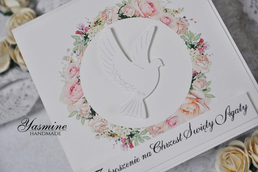 Piękne kwiatowe zaproszenia na Chrzest  -