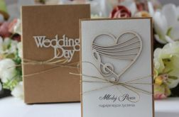 Rustykalna kartka ślubna z pudełkiem 7