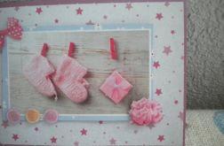 Na różowo -kartka dla dziewczynki