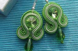 Zielone kryształowe kolczyki sutasz