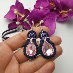 Biżuteria komplet kryształowy granat różowy