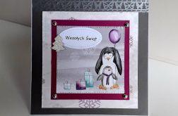 Kartka Boże Narodzenie handmade pingwiny