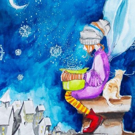 """Robimy śnieg"" akwarela"