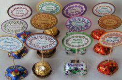 ŚLUB - Słodkie winietki na patyczkach