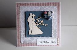 Kartka ślubna kwiatuszki Para Młoda