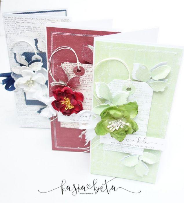 Kartka ślubna w pudełku - biel i zieleń