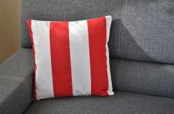 Poszewka dekoracyjna w szerokie biało-czerwone pasy