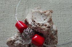 Naszyjnik - czerwień i srebro