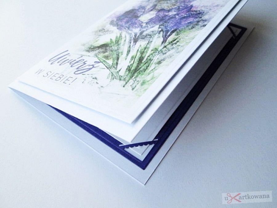 Kartka MOTYWACYJNA - fioletowe kwiaty - Kartka na wiele okazji z fioletowymi kwiatami