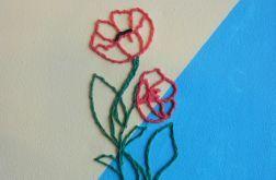Obraz wyszywany. Wersja z kolorowym haftem.