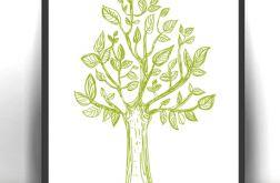 21x30 cm Drzewko grafika, obrazek z drzewem