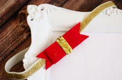 FairyBows opaska kokardka  czerwony + złoty