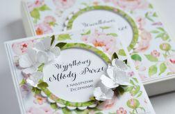 Ślubny ZESTAW W PUDEŁKU kartka z kwiatami