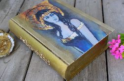 Pudełko w kształcie książki, motyw anioła, złoty kolor