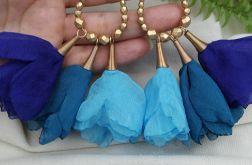 Chabrowe kobaltowe duże kolczyki kwiaty ślub