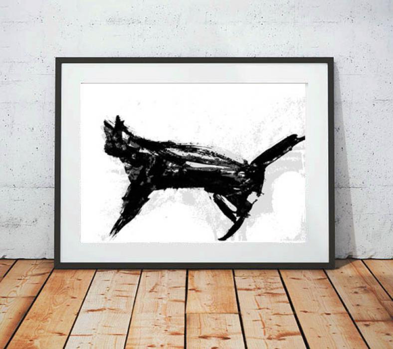 21x30 cm kot plakat nowoczesny, kot grafika