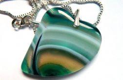 Zielony agat pasiasty, wisiorek-serce, srebro