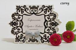 Zaproszenie na ślub z ornamentem kolor czarny
