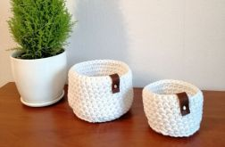 Koszyk ze sznurka bawełnianego biały M