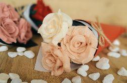 Bukiet róż z filcu - jaśmin + brzoskwinia