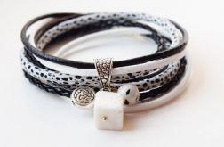 bransoletka rzemień czarno-biała