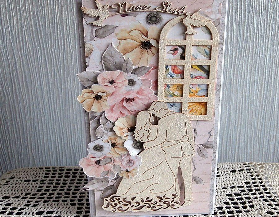 Kartka ślubna DL - Kartka złożona