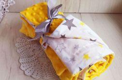 Kocyk minky + bawełna - żółte gwiazdki