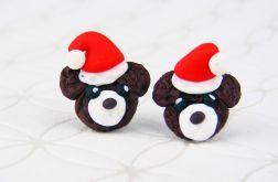 Kolczyki Misie w czapce Świętego Mikołaja