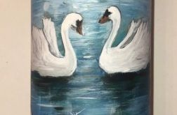 świeca malowana ręcznie- ślub łabędzie
