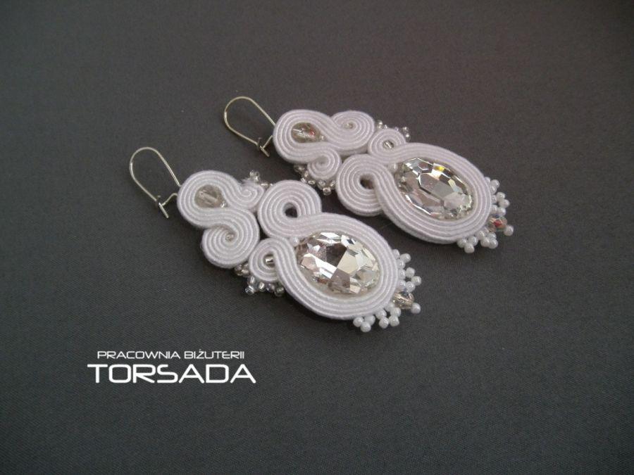 kolczyki ślubne sutasz białe cyrkonie