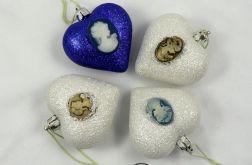 Bombki serca biało-niebieskie (4szt.)