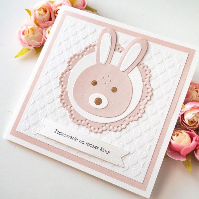 Zaproszenia na chrzest, roczek - królik - zaproszenia na roczek, zaproszenia na urodziny, zaproszenia urodzinowe