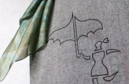 Torba szara ręcznie malowana Ona z Parasolką