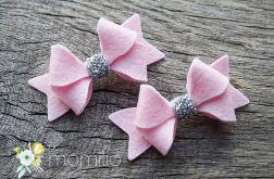 kokardki srebrno różowe