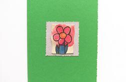 Kartka zielona z kwiatkiem  8