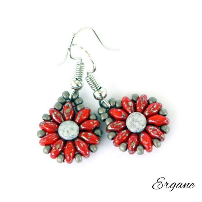 Kolczyki czerwono-szare kwiatki