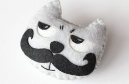 Broszka filc,Przypinka filc,Kot z wąsami