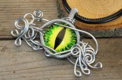 Wisior wire wrapping zielone smocze oko
