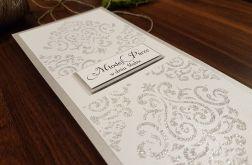 Kartka ślubna zdob. srebrną pastą brokatową