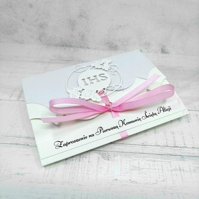 Zaproszenie na komunię dla dziewczynki z różową wstążką ZKS 010 - Zaproszenie na komunię dla dziewczynki z różową wstążką  (2)